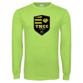 Lime Green Long Sleeve T Shirt-Soccer Badge