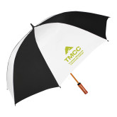 62 Inch Black/White Vented Umbrella-TMCC Stacked with Name