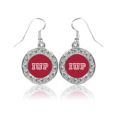 Crystal Studded Round Pendant Silver Dangle Earrings-IUP Logo