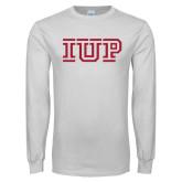 White Long Sleeve T Shirt-IUP Logo