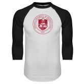 White/Black Raglan Baseball T Shirt-Seal