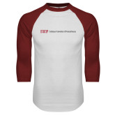 White/Cardinal Raglan Baseball T Shirt-IUP Logo Wordmark