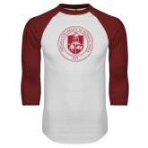 White/Cardinal Raglan Baseball T Shirt-Seal