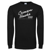 Black Long Sleeve T Shirt-Script Distressed