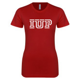 Next Level Ladies SoftStyle Junior Fitted Cardinal Tee-IUP Logo