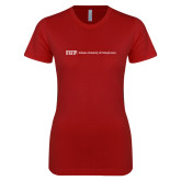 Next Level Ladies SoftStyle Junior Fitted Cardinal Tee-IUP Logo Wordmark