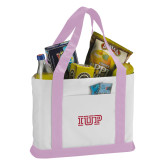 Contender White/Pink Canvas Tote-IUP Logo