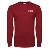 Cardinal Long Sleeve T Shirt-IUP Logo