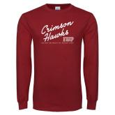 Cardinal Long Sleeve T Shirt-Script Distressed