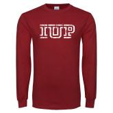 Cardinal Long Sleeve T Shirt-IUP Distressed