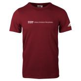 Adidas Cardinal Logo T Shirt-IUP Logo Wordmark