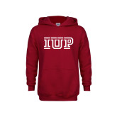 Youth Cardinal Fleece Hoodie-IUP Logo