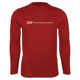Performance Cardinal Longsleeve Shirt-IUP Logo Wordmark