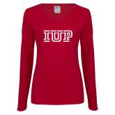Ladies Cardinal Long Sleeve V Neck Tee-IUP Logo