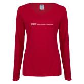 Ladies Cardinal Long Sleeve V Neck Tee-IUP Logo Wordmark