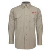Khaki Long Sleeve Performance Fishing Shirt-IUP Logo