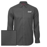 Red House Dark Charcoal Diamond Dobby Long Sleeve Shirt-IUP Logo