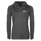 Ladies Sport Wick Stretch Full Zip Charcoal Jacket-IUP Logo