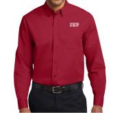 Cardinal Twill Button Down Long Sleeve-IUP Logo