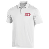 Under Armour White Performance Polo-IUP Logo
