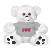 Plush Big Paw 8 1/2 inch White Bear w/Grey Shirt-IUP Logo