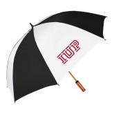 62 Inch Black/White Vented Umbrella-IUP Logo