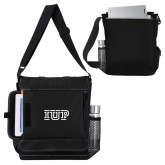 Impact Vertical Black Computer Messenger Bag-IUP Logo
