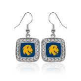 Crystal Studded Square Pendant Silver Dangle Earrings-Mascot Logo