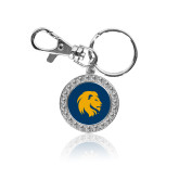 Crystal Studded Round Key Chain-Mascot Logo