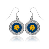 Crystal Studded Round Pendant Silver Dangle Earrings-Mascot Logo