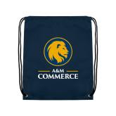 Navy Drawstring Backpack-Mascot AM Commerce