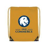 Gold Drawstring Backpack-Mascot AM Commerce
