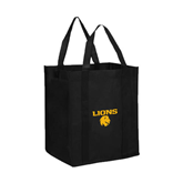 Non Woven Black Grocery Tote-Stacked Lions with Head
