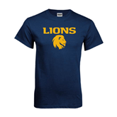 Navy T Shirt-Stacked Lions with Head