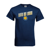 Navy T Shirt-Angled Lets Go Lions