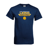 Navy T Shirt-Track and Field Stacked Ribbon Design
