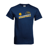 Navy T Shirt-Angled Basketball Design