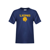 Youth Navy T Shirt-Stacked Lions with Head