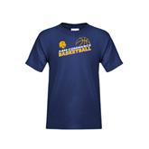 Youth Navy T Shirt-Angled Basketball Design