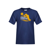 Youth Navy T Shirt-Cross Country Shoe Design