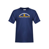 Youth Navy T Shirt-Arched Football Design