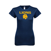 Next Level Ladies SoftStyle Junior Fitted Navy Tee-Stacked Lions with Head