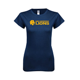 Next Level Ladies SoftStyle Junior Fitted Navy Tee-Flat A&M Commerce Lions