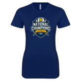 Next Level Ladies SoftStyle Junior Fitted Navy Tee-2017 National Champions