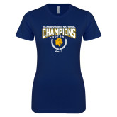 Next Level Ladies SoftStyle Junior Fitted Navy Tee-2017 National Football Champions