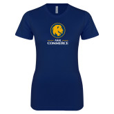 Next Level Ladies SoftStyle Junior Fitted Navy Tee-Mascot AM Commerce