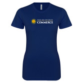 Next Level Ladies SoftStyle Junior Fitted Navy Tee-Texas A&M University Commerce