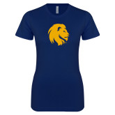 Next Level Ladies SoftStyle Junior Fitted Navy Tee-Mascot Logo