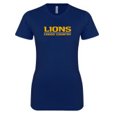 Next Level Ladies SoftStyle Junior Fitted Navy Tee-Lions Cross Country