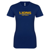 Next Level Ladies SoftStyle Junior Fitted Navy Tee-Lions Softball